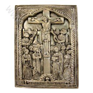 """Икона - """"Разпятие Христово"""" Рилско-посребрено."""