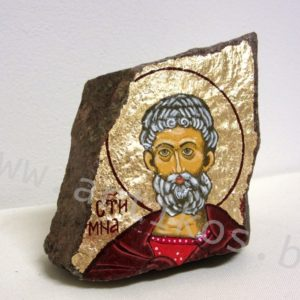 painted icon on stone
