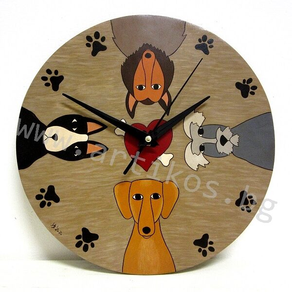 clock with dogs