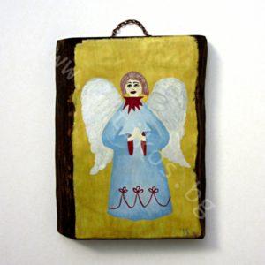 """Картина върху дърво """"Ангелът с молитва за теб"""""""