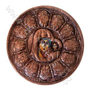 """Икона - """"Св. Богородица с 12-те Апостоли"""" - меден обков"""