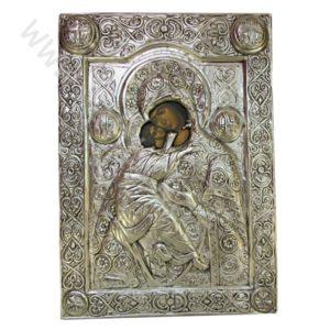 """Икона - """"Св. Богородица Атонска"""" - посребрена."""