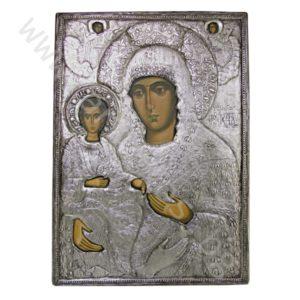 """Икона - """"Св. Богородица Троеручица Бачковска"""" - посребрена."""