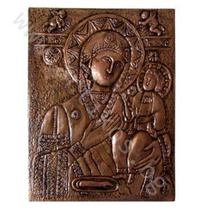"Кована Икона - ""Св. Богородица Труеручица"" - медна."