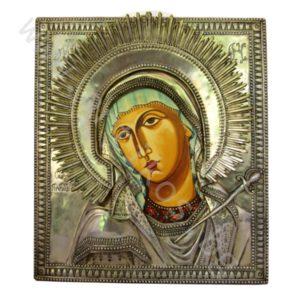"""Икона - """"Св. Богородица Плачеща – Умиление"""" посребрена."""