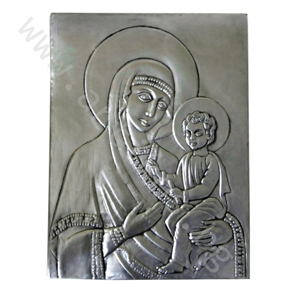 """Кована Икона - """"Св. Богородица"""" - посребрена."""