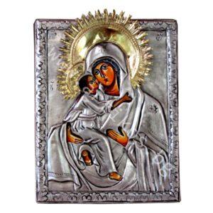 Св. Богородица с нимб - посребрена