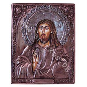 Икона на Христос Вседържител с нимб - меден обков