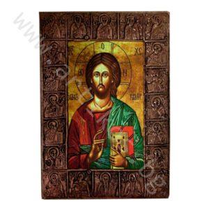 "Икона ""Исус Христос Пантократор"" медна"