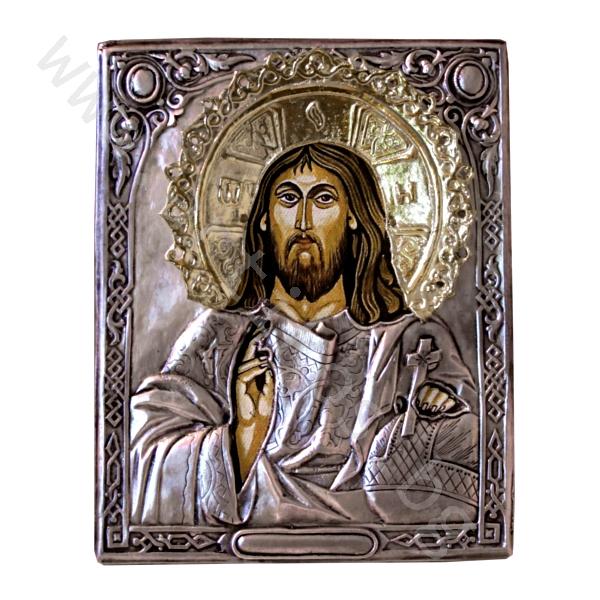 Икона на Христос Вседържител с нимб - посребрена