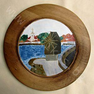 """Пейзаж """"Несебър"""" ръчно изрисуван върху дървена чиния"""