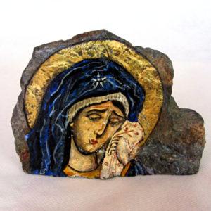 """Икона - """"Св. Богородица – Умиление"""" върху камък."""