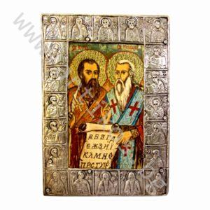 """Икона на """"Св.Св. Кирил и Методий"""" в рамка от цялостно посребрен черепишки обков."""