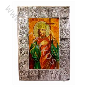 "Икона на ""Св. Цар Борис"" в рамка от цялостно посребрен черепишки обков."