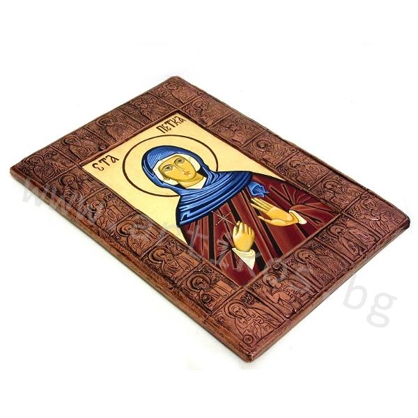рисувана икона Св. Петка обкована